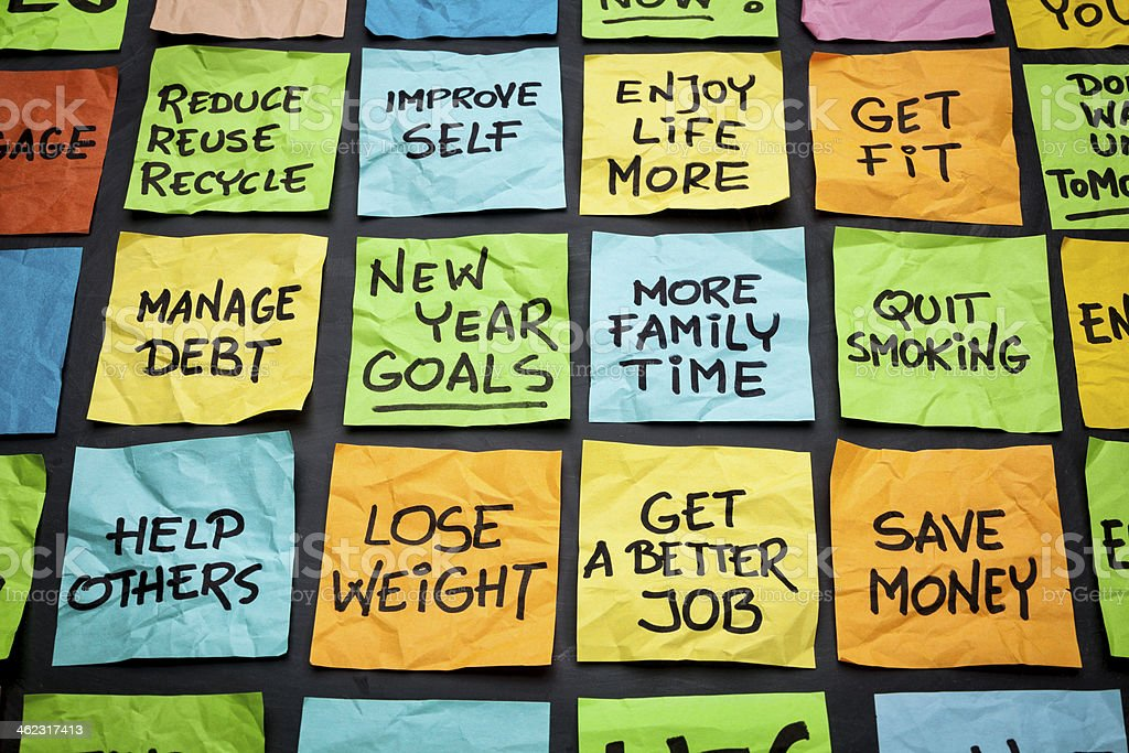 new year goals or resolutions stock photo