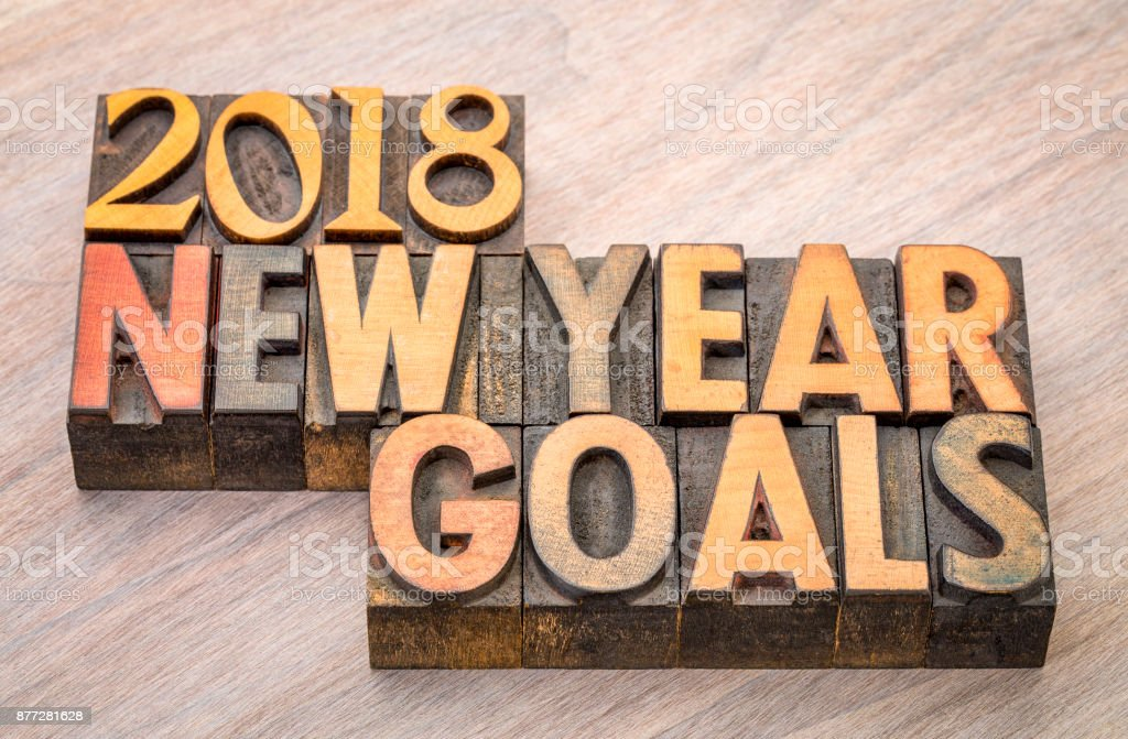 2018 New Year goals word abstract in wood type stock photo