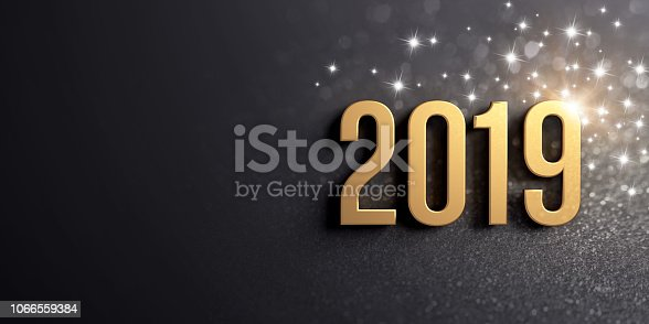 istock New Year gold date 2019 for Greeting card 1066559384