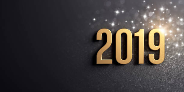 New Year gold date 2019 for Greeting card 2019 date number colored in gold, on a festive black background, with glitters and stars - 3D illustration 2019 stock pictures, royalty-free photos & images