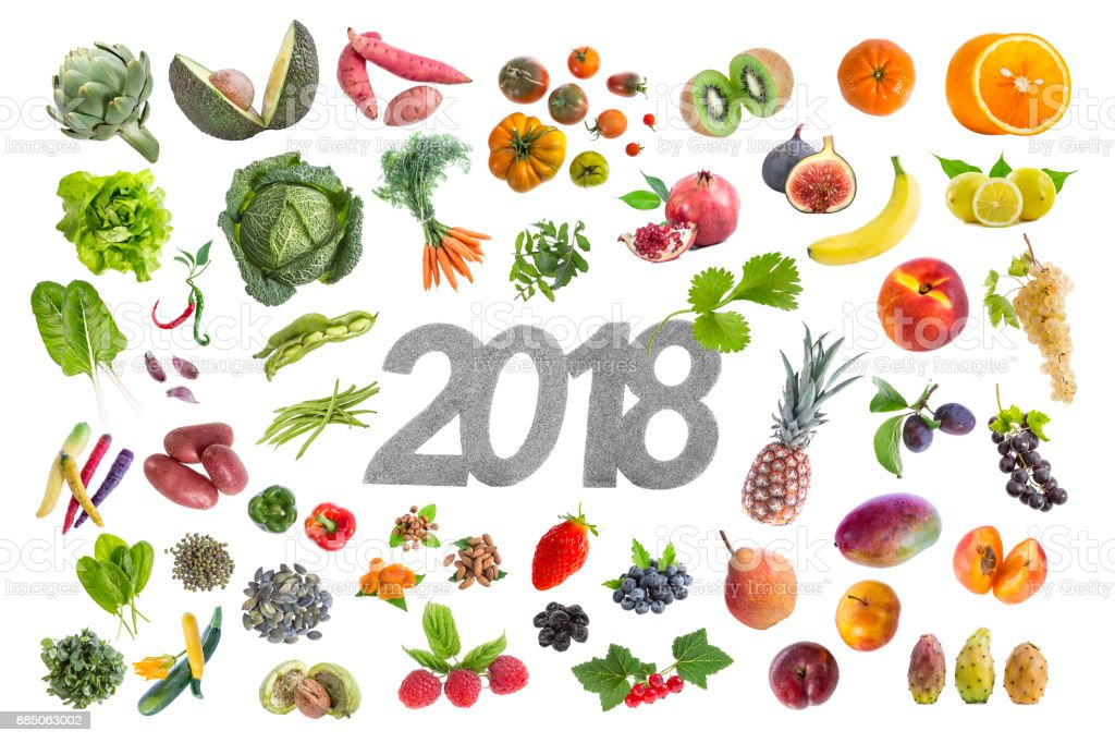 New year good resolution five fruit and vegetable 2018 whritten in the midde on white stock photo