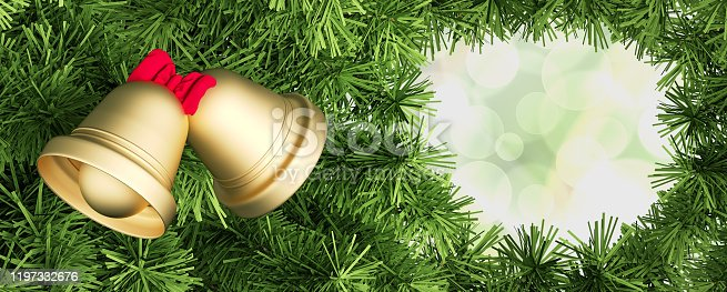 New Year greeting card Christmas bells and fir-tree 3D illustration 3D renderin