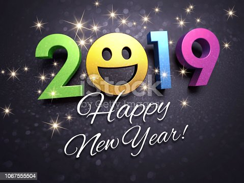 istock 2019 New Year greeting card for smiling 1067555504