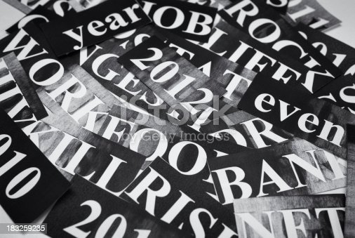 istock new year headlines - news concept in monochrome 183259235