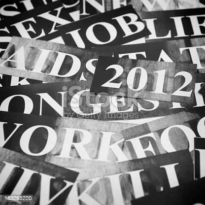 istock new year headlines - news concept in monochrome 183265220