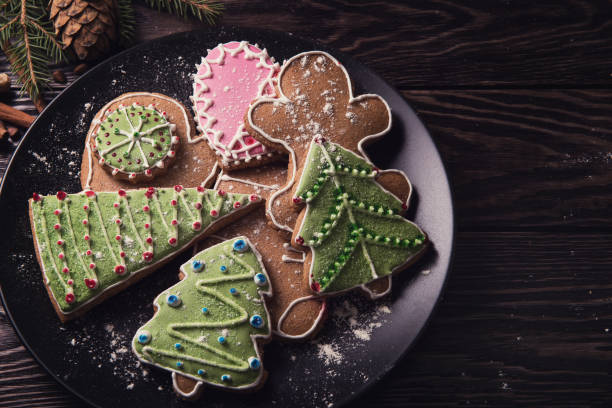 new year homemade gingerbread - christmas cookies stock pictures, royalty-free photos & images