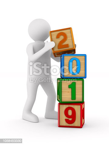 873187696 istock photo 2019 new year. Isolated 3D illustration 1058453330