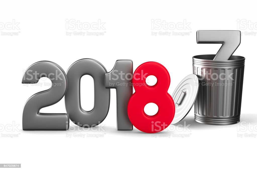 2018 new year. Isolated 3D illustration stock photo