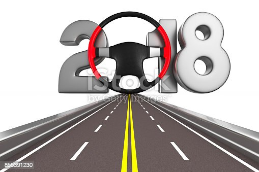 istock 2018 new year. Isolated 3D illustration 855391230
