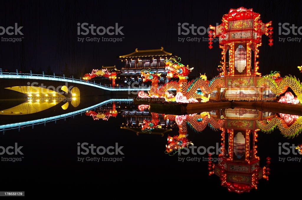 New Year lantern show the dragon totem royalty-free stock photo