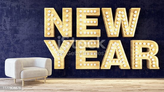 New Year Light Bulb Sign Against Wall with Armchair. 3D Render
