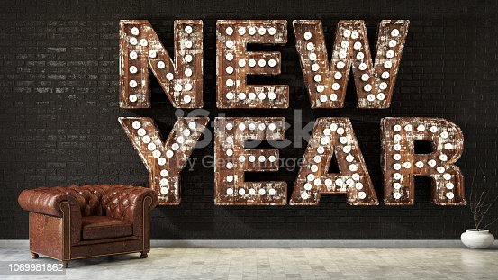 New year concept with light bulbs
