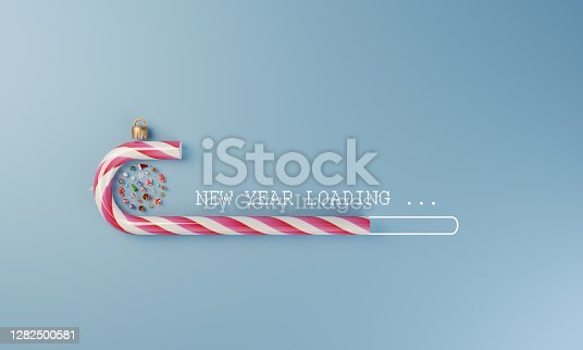 Digital loading stick made of christmas candy and christmas ornaments flat lay, can be used new year concepts. ( 3d render )