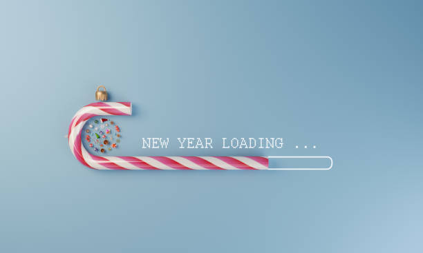 New Year Loading Digital loading stick made of christmas candy and christmas ornaments flat lay, can be used new year concepts. ( 3d render ) happy new year 2021 stock pictures, royalty-free photos & images