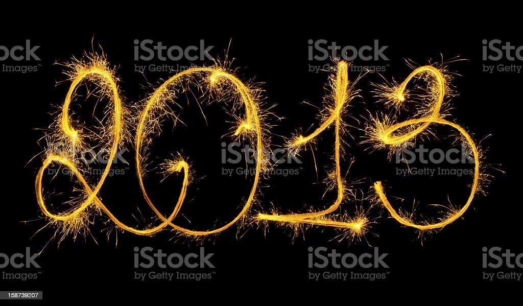 New Year - made a sparkler royalty-free stock photo