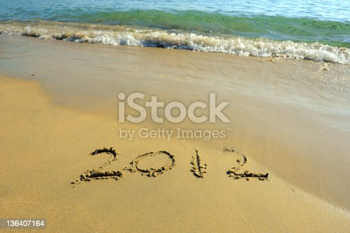 istock new year message on the sand beach 136407164