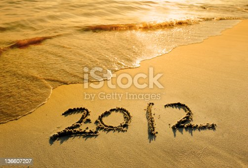 istock new year message on the sand beach 136607207