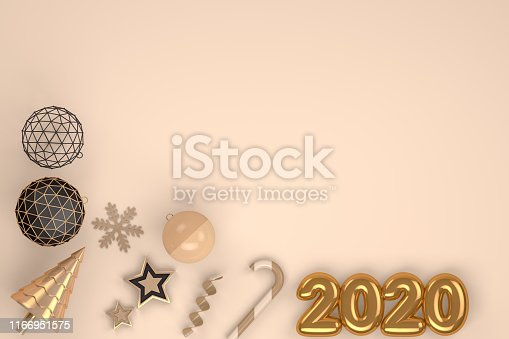 istock 2020 New Year, Minimal Christmas Concept, 3d rendering ornaments 1166951575
