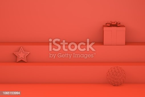 istock New Year, Minimal Christmas Concept on Red Background 1065153994