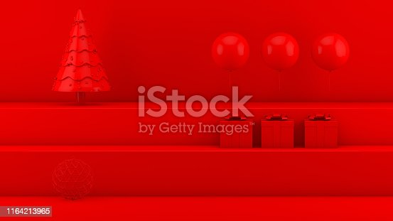 istock New Year, Minimal Christmas Concept on Red Background with Staircase Podium 1164213965