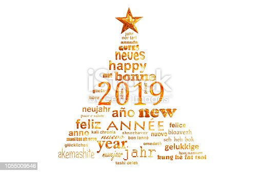 istock 2019 new year multilingual text word cloud greeting card in the shape of a christmas tree 1055009546
