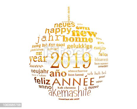 istock 2019 new year multilingual text word cloud  in the shape of a christmas ball 1063685758