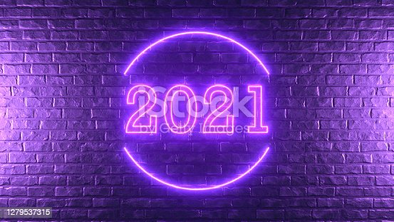 3D Rendering Brick Wall with 2021 New Year Sign, Neon lighting.