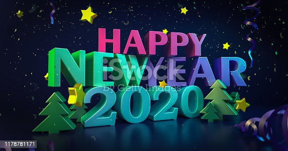 2020 New Year night colorful background. Greeting cards. Shining 3d illustration. Glowing stars with bright happy new year wishes. Christmas snowflakes. 4K quality