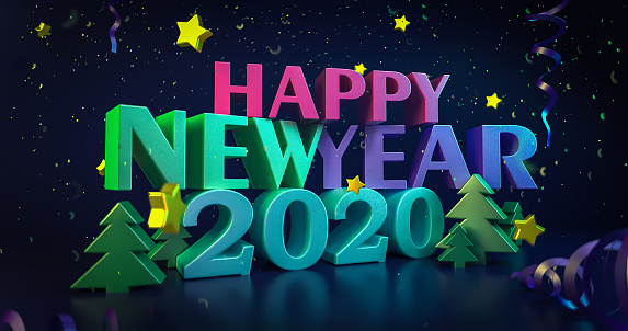 istock 2020 New Year night colorful background. Greeting cards. Shining 3d illustration. Glowing stars with bright happy new year wishes. Christmas snowflakes. 4K quality 1178781171