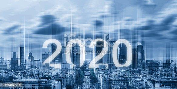 istock 2020 new year on futuristic city background 1169862729