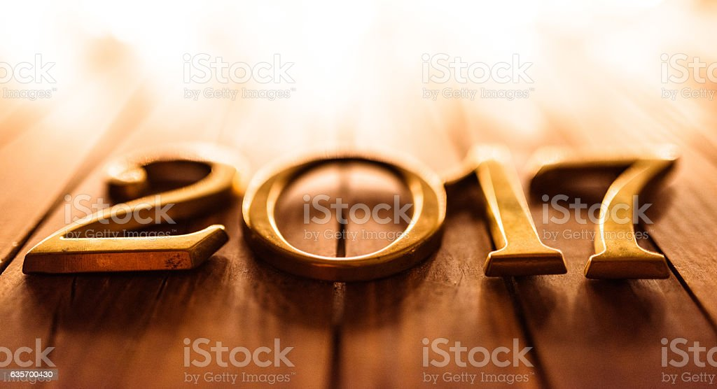 2017 new year on plank wood royalty-free stock photo