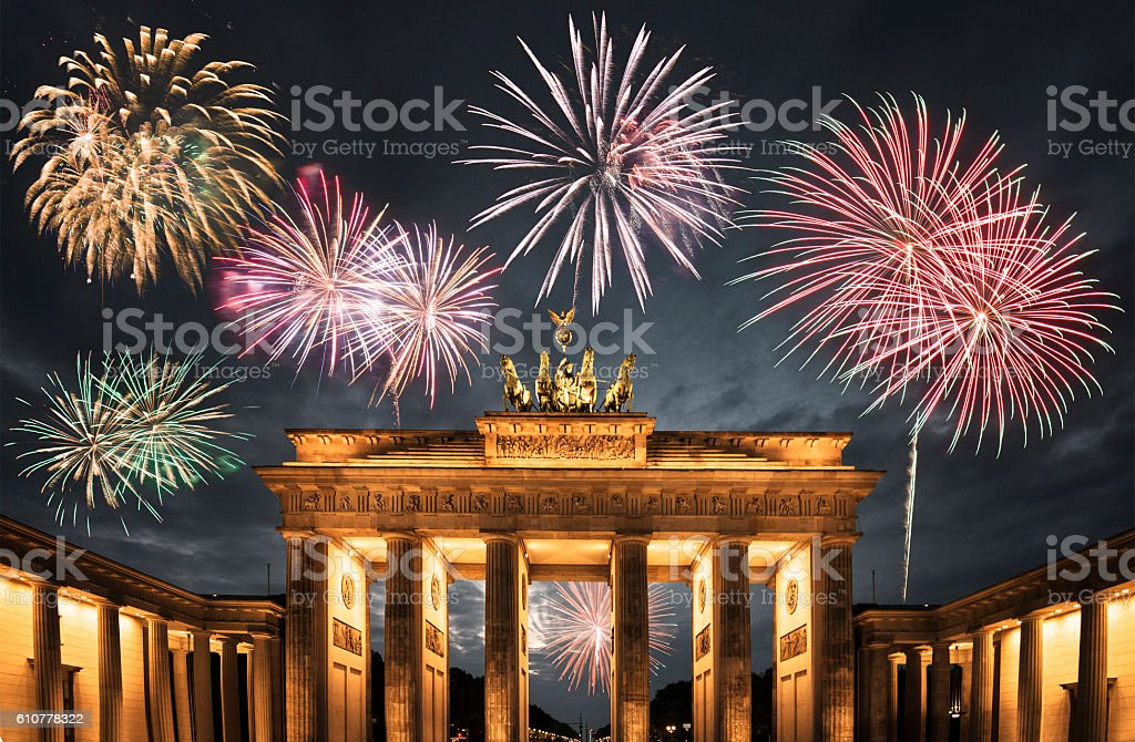 New year on the Brandeburg Tor in Berlin stock photo