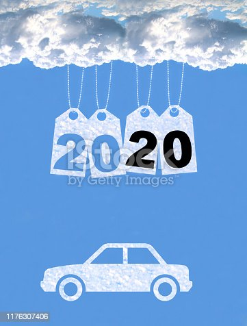 istock New year on the clouds, Car, 2020 1176307406