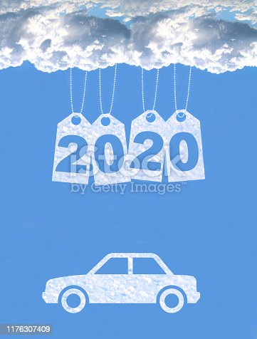 istock New year on the clouds, Car, 2020 1176307409