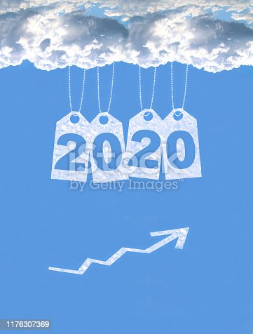 istock New year on the clouds graph, 2020 1176307369