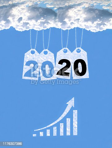 istock New year on the clouds graph, 2020 1176307386