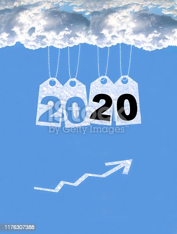 istock New year on the clouds graph, 2020 1176307388