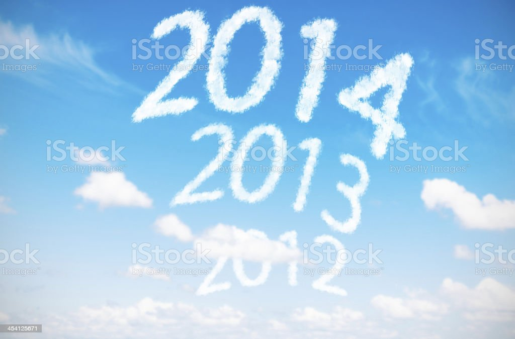 New year on the clouds stock photo