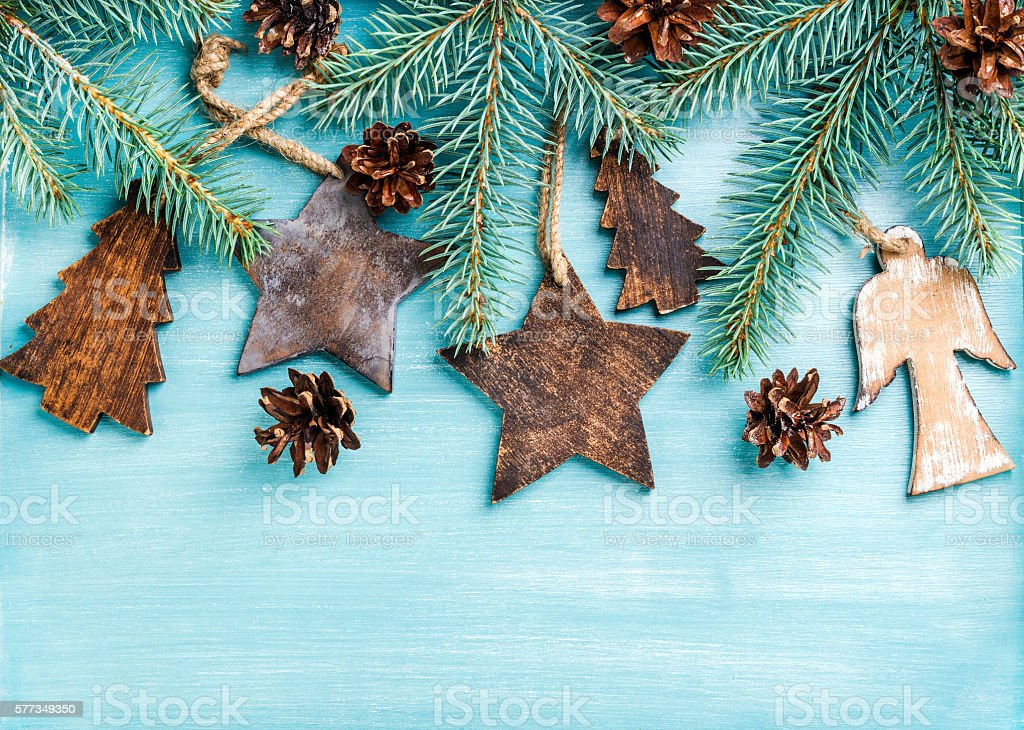 Angels Christmas Background.New Year Or Christmas Background Wooden Angels Stars Small