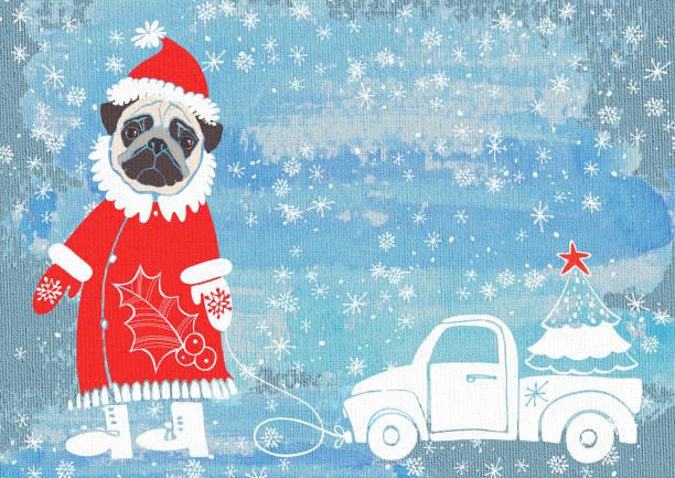ano novo ou o cartão de natal com pug fofo na fantasia de papai noel com o carro no fundo de textura. - cachorro desenho - fotografias e filmes do acervo