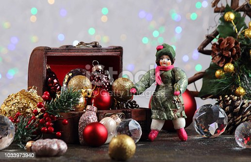 505891506 istock photo New Year or Christmas decorations on an abstract background, bokeh effect. Can be used as wallpaper or greeting card. Selective focus, copy space. 1033973940