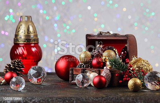 505891506 istock photo New Year or Christmas decorations on an abstract background, bokeh effect. Can be used as wallpaper or greeting card. Selective focus, copy space. 1033973994
