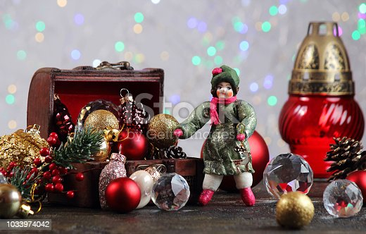 505891506 istock photo New Year or Christmas decorations on an abstract background, bokeh effect. Can be used as wallpaper or greeting card. Selective focus, copy space. 1033974042