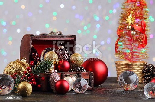 505891506 istock photo New Year or Christmas decorations on an abstract background, bokeh effect. Can be used as wallpaper or greeting card. Selective focus, copy space. 1033974052