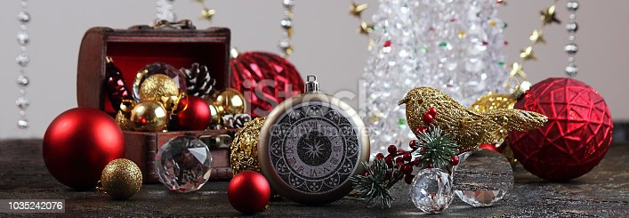 505891506 istock photo New Year or Christmas decorations on an abstract background, bokeh effect. Can be used as wallpaper or greeting card. Selective focus, copy space. Banner 1035242076