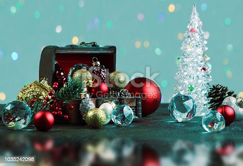 505891506 istock photo New Year or Christmas decorations on an abstract background, bokeh effect. Can be used as wallpaper or greeting card. Selective focus, copy space. 1035242098