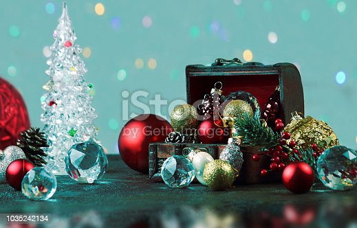 505891506 istock photo New Year or Christmas decorations on an abstract background, bokeh effect. Can be used as wallpaper or greeting card. Selective focus, copy space. 1035242134