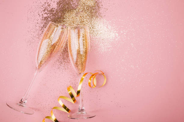 New year party concept flat lay stock photo