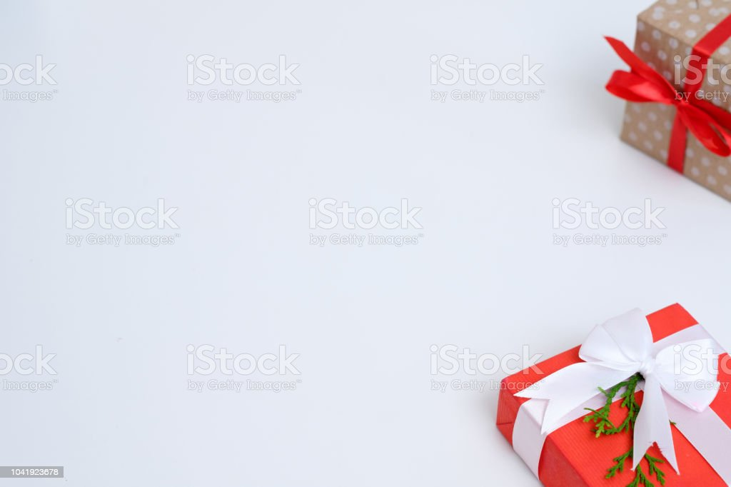 new year present gift box craft package red bow stock photo