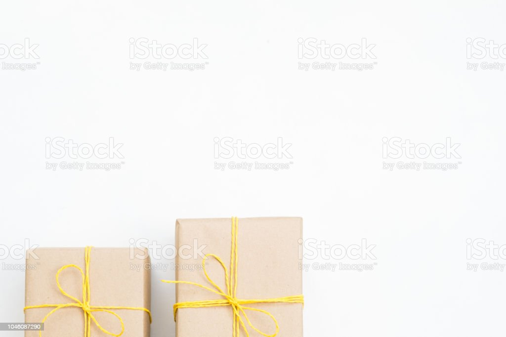 new year present gift box wrapped craft paper stock photo